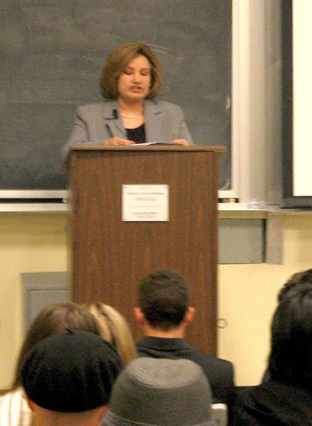 Nonie Darwish attempts to speak as an invited guest at Berkley in 2007