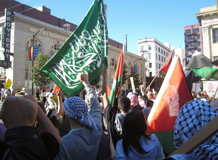 hamas flag at sf rally